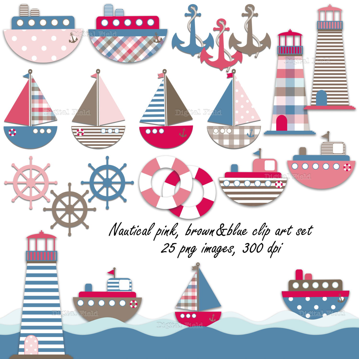 Pink Nautical Clipart - Clipart Kid