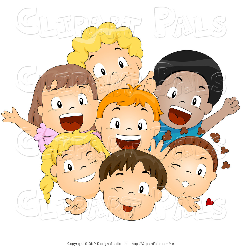 Pal Vector Clipart Of A Group Of Excited Diverse Children Smiling And