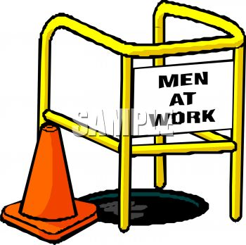 Royalty Free Clipart Image  Men At Work Sign Over A Manhole With An