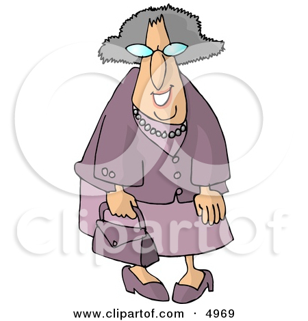 Royalty Free  Rf  Clipart Illustration Of A Granny Walking By With Her