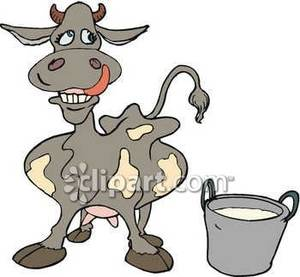 Silly Cartoon Dairy Cow   Royalty Free Clipart Picture