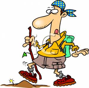 Silly Cartoon Hiker   Royalty Free Clipart Picture