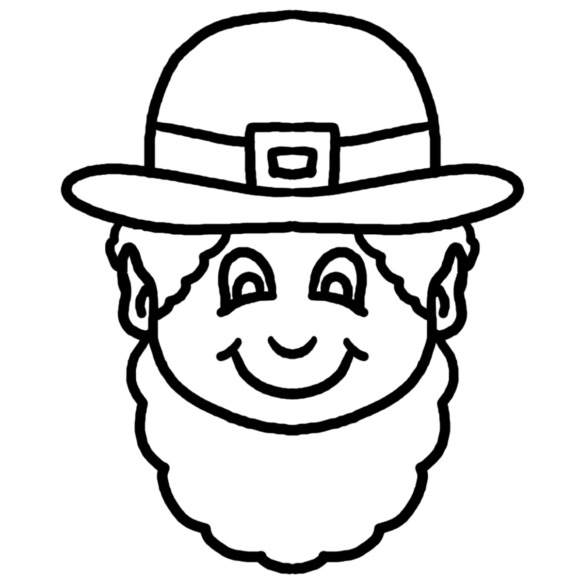 This Black And White Cartoon Leprechaun Face Clip Art Illustration Can