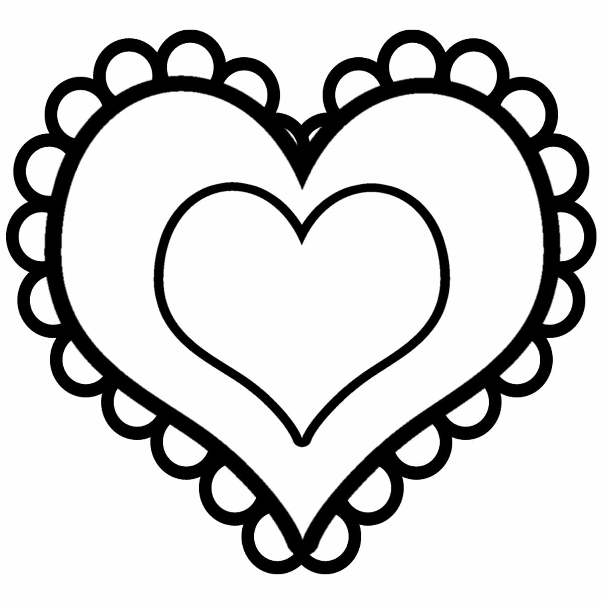 Valentine S Day Heart With Lace Clip Art In Black And White  This