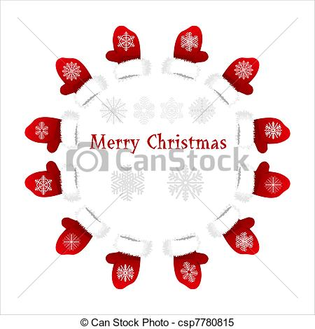 Vector   Card With Christmas Mittens And Sno   Stock Illustration