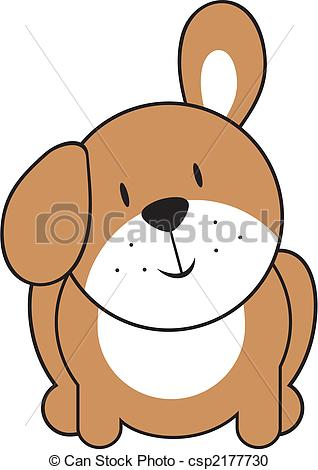 Vector Clipart Of Cute Baby Puppy   Isolated Baby Puppy Individual