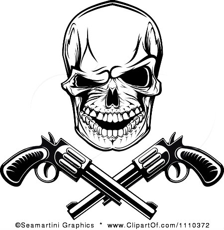 1110372 Clipart Black And White Gangster Skull With Crossed Pistols