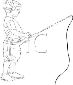 Black And White Cartoon Of A Boy Fishing   Royalty Free Clipart