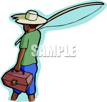 Black Boy Going Fishing   Royalty Free Clip Art Picture