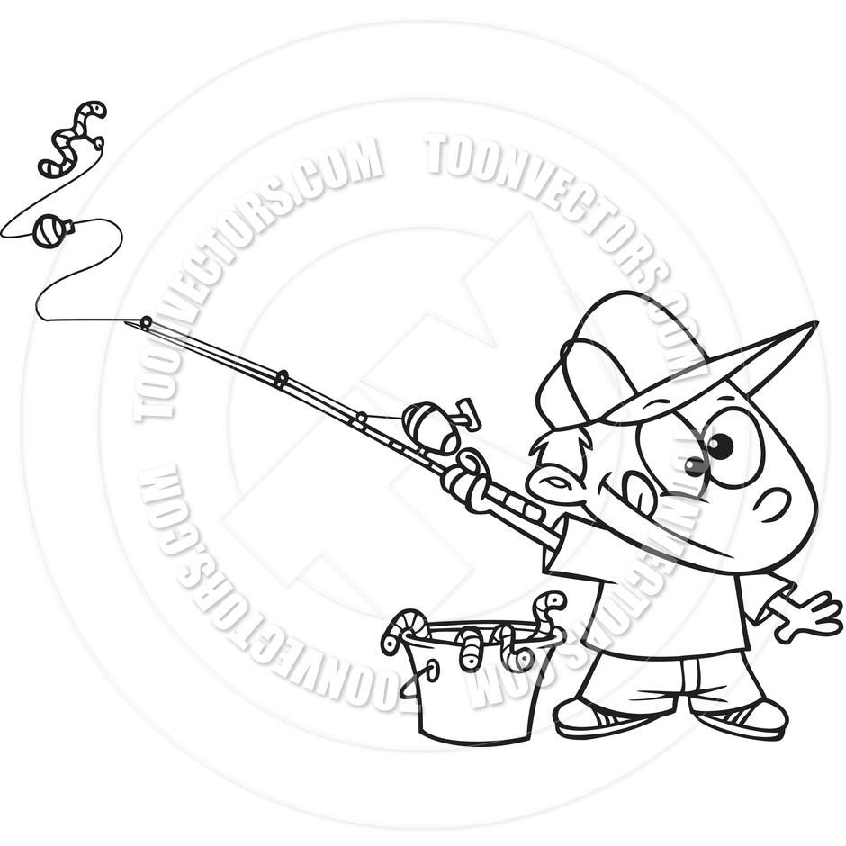 Cartoon Boy Fishing  Black And White Line Art  By Ron Leishman   Toon