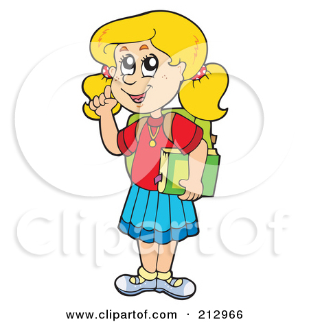 Clipart Blond School Girl Raising Her Hand At Her Desk Over A Book
