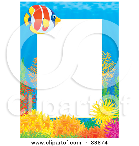 Clipart Illustration Of An Underwater Stationery Border Of Tropical