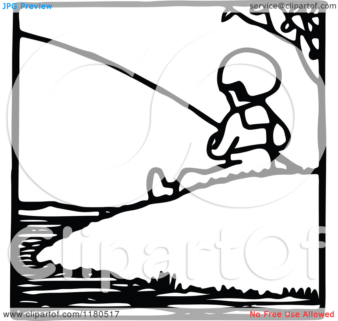 Clipart Of A Black And White Fishing Boy Icon   Royalty Free Vector