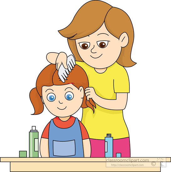 Comb Hair Clipart Mother Combing Daughters Hair
