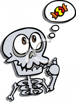 Cute Cartoon Skeleton Thinking Of Halloween Candy Royalty Free Clipart