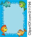 Free Rf Clipart Illustration Of A Bubble And Fish Border Around Blue