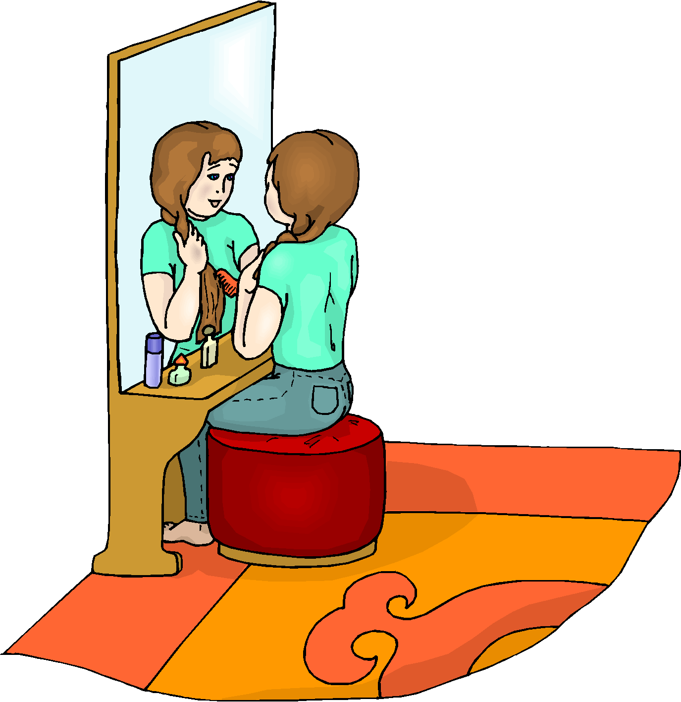 Girl Combing Hair Free Clipart   Free Microsoft Clipart