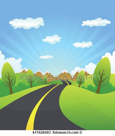 Illustration Of A Cartoon Summer Or Spring Country Road Travelling To