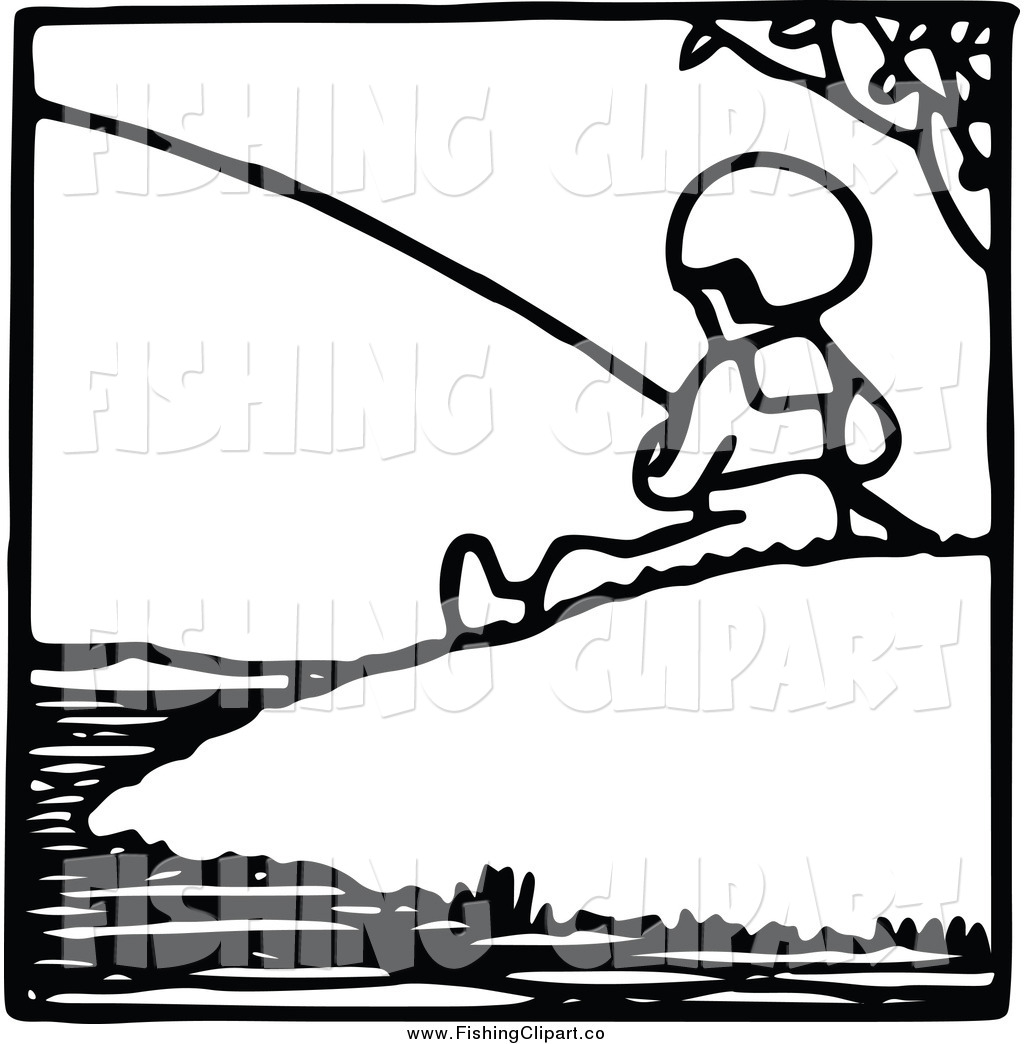 Larger Preview  Clip Art Of A Black And White Fishing Boy On A Hill By