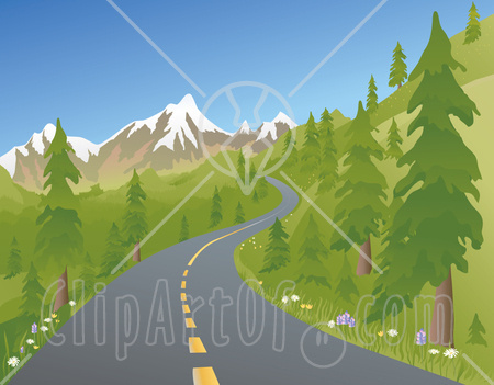 Mountain Road Clipart 14037 Two Laned Road Winding