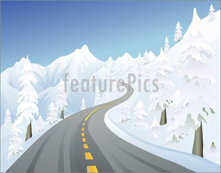 Mountain Road Clipart Snowy Mountain Road In The