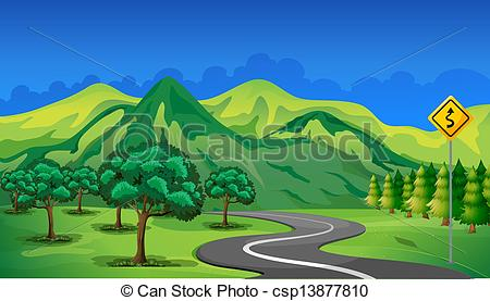 Mountain Road Clipart Vector   A Curve Road Going To