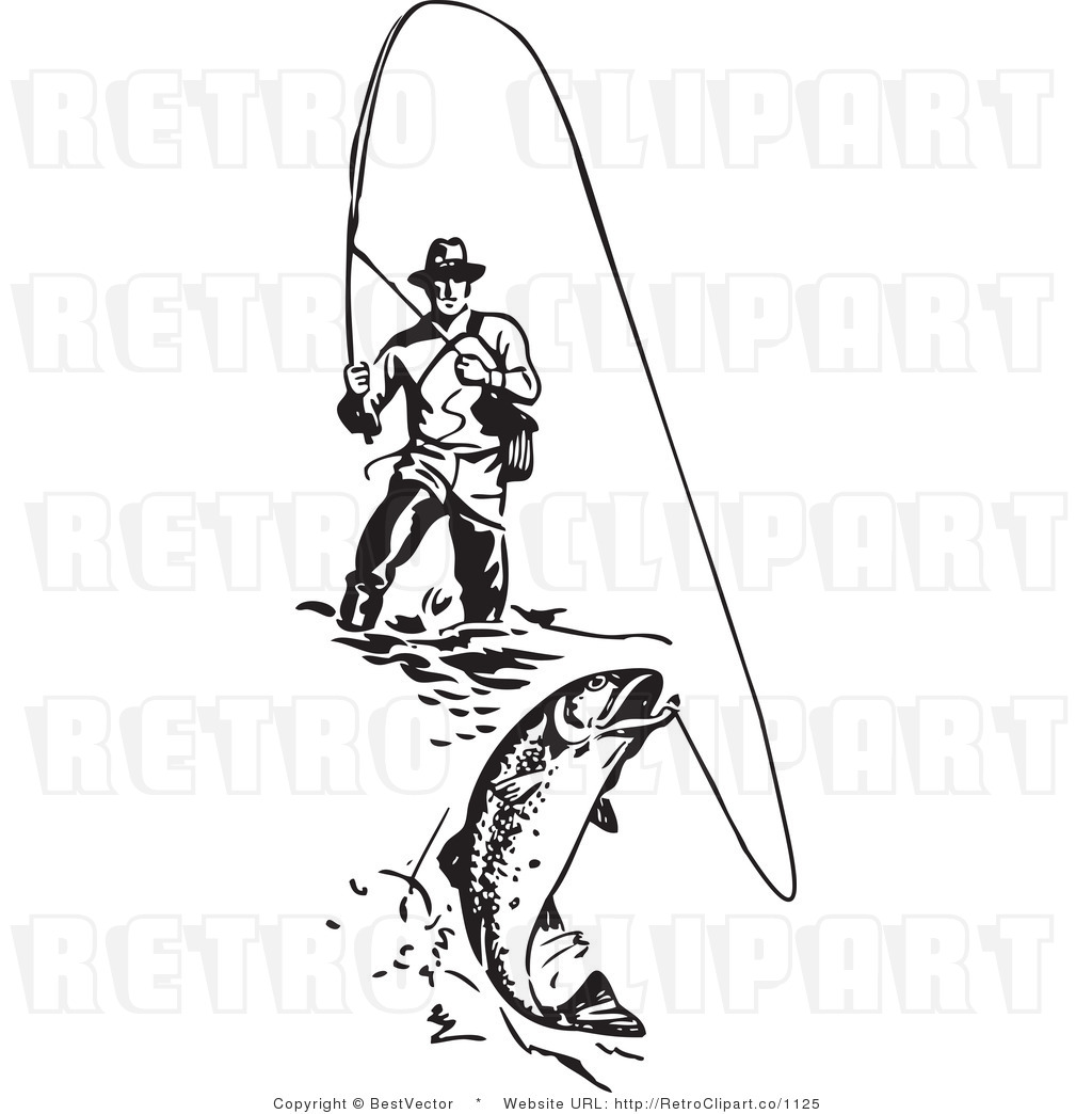 Royalty Free Black And White Retro Vector Clip Art Of A Wading