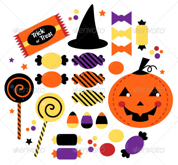 Stock Vector   Graphicriver Halloween Candy Collection 5435506
