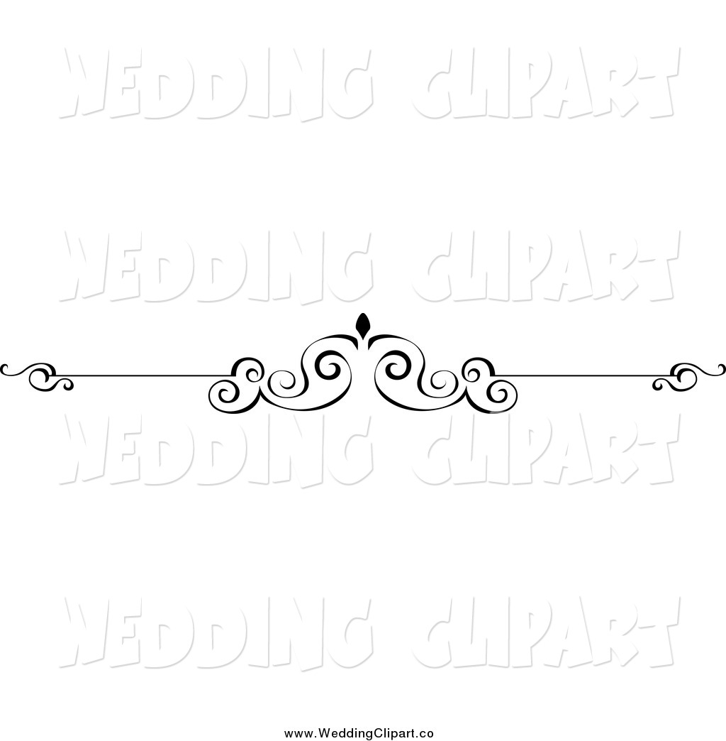 Vector Marriage Clipart Of A Black And White Wedding Page Border Rule