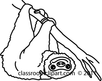 Animals   711 Sloth 54bw   Classroom Clipart