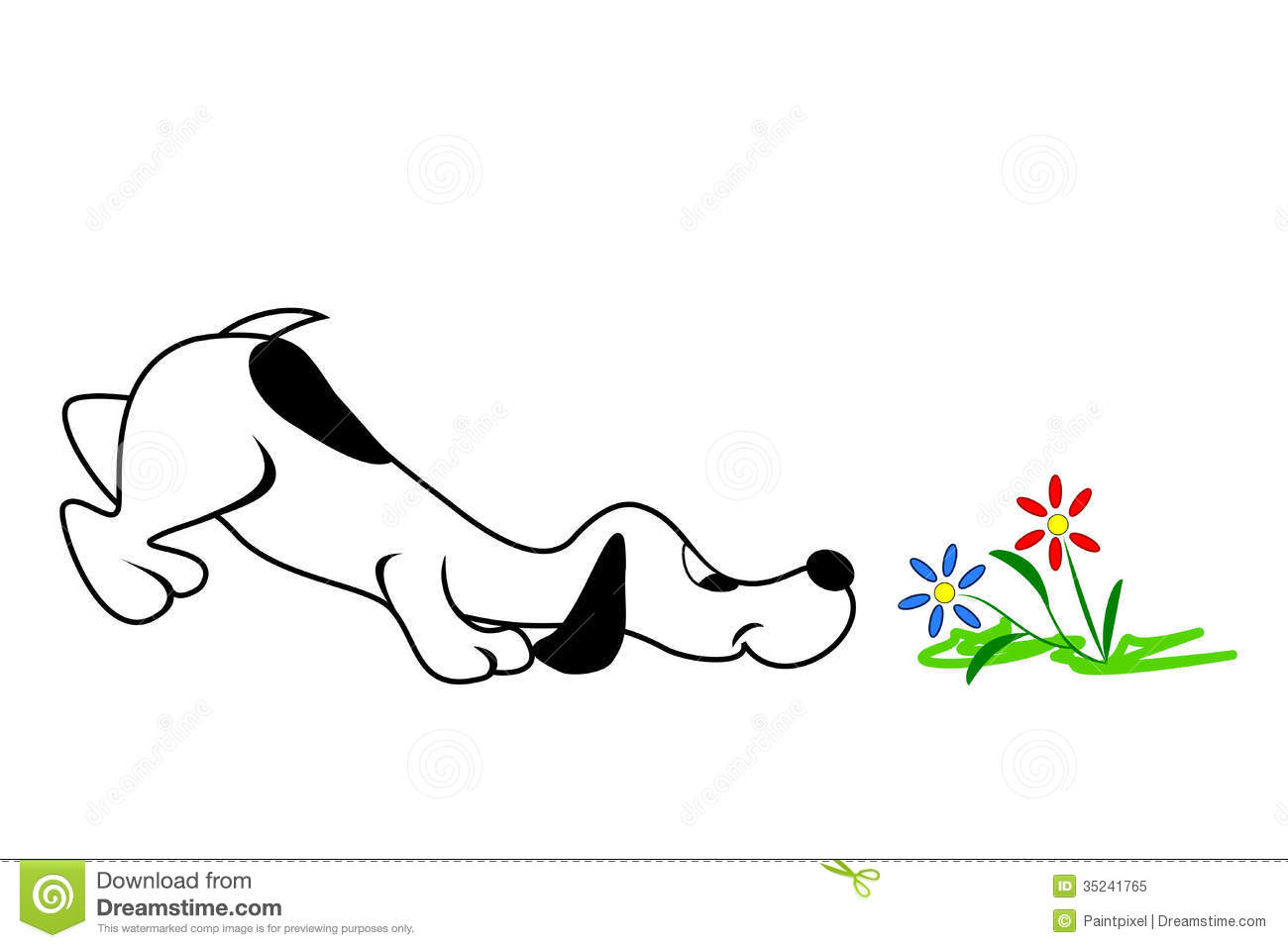 Cartoon Dog Smelling Flowers With Nose Close To The Ground