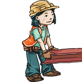 Clip Art Of A Girl Wearing Hard Hat Toolbelt And Orange Vest