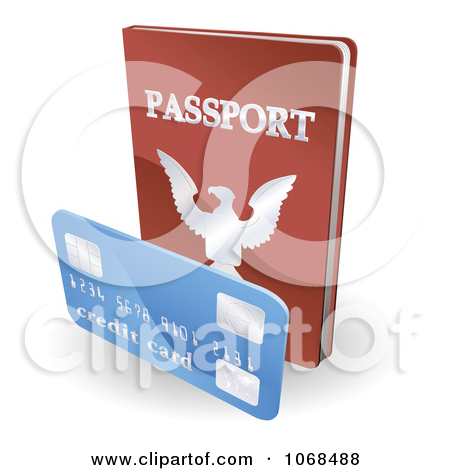 Clipart 3d Passport Book And Credit Card   Royalty Free Vector