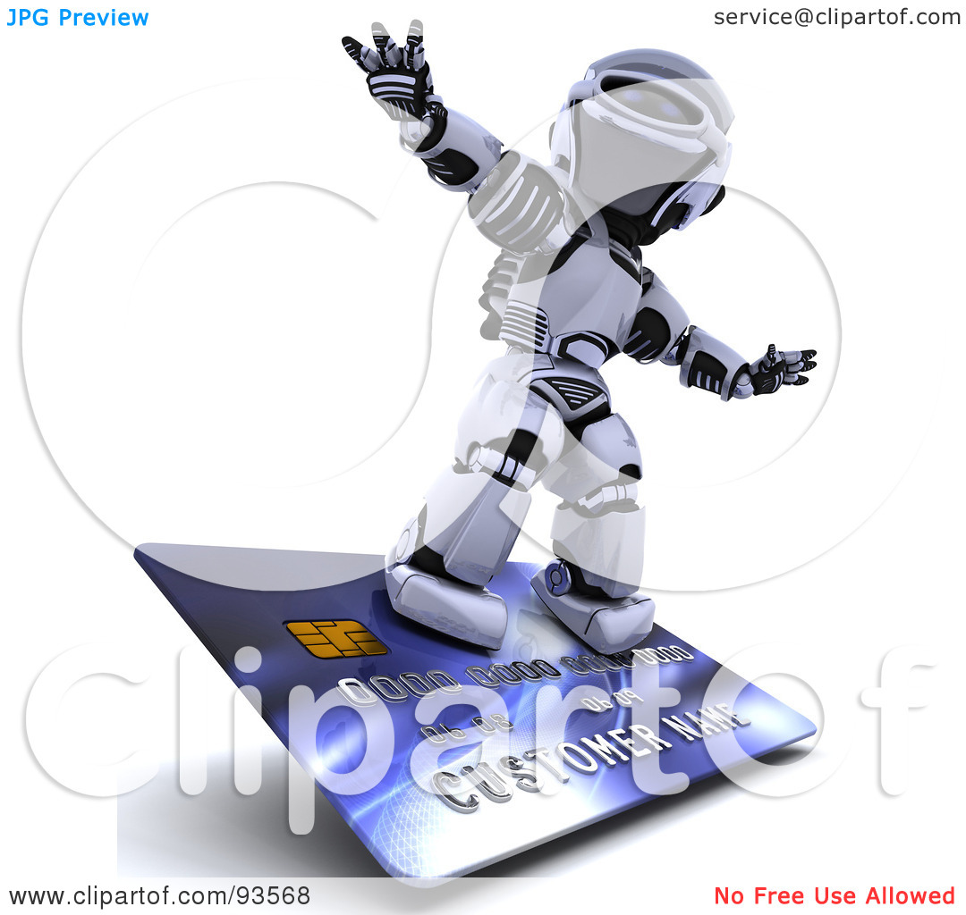 Clipart Illustration Of A 3d Silver Robot Riding On A Blue Credit Card