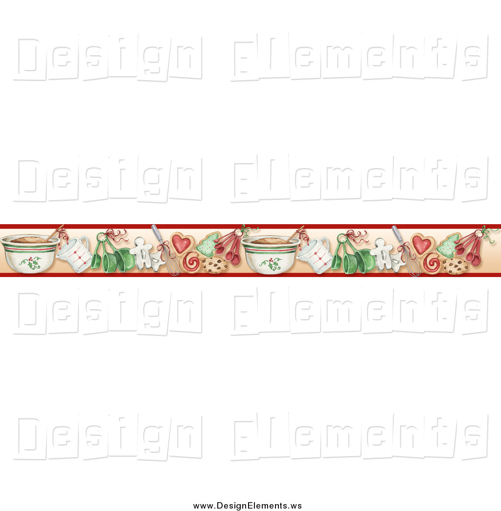 Clipart Of A Border Of Christmas Cookies And Baking Tools By Gina Jane