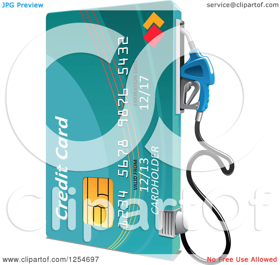 Clipart Of A Credit Card Gas Pump   Royalty Free Vector Illustration