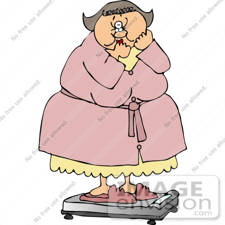 Clipart Of An Overweight Middle Aged Caucasian Woman In A Pink Robe