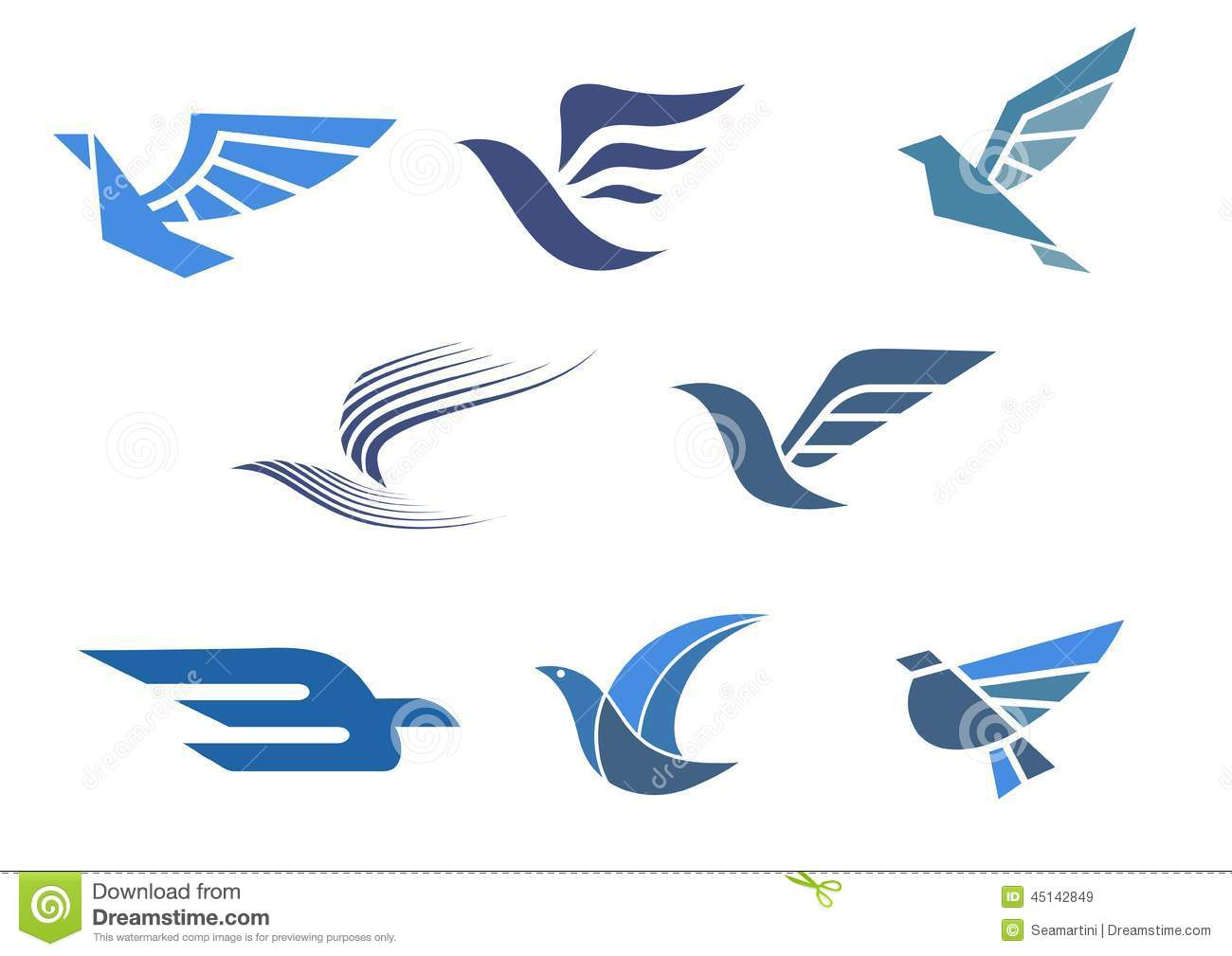 Delivery And Shipping Symbols With Abstract Stylized Flying Bird