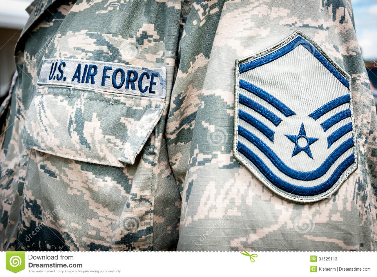 Detail Of United States Air Force Soldier S Uniform With Emblem In