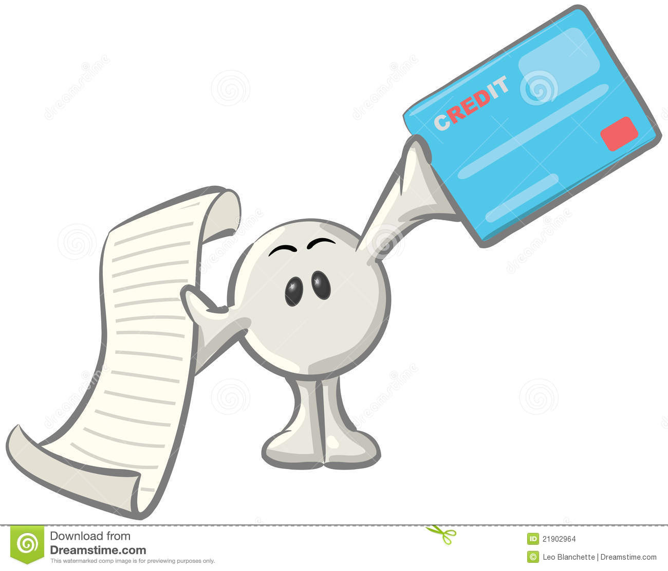 Dot Man With Credit Card And Receipt Stock Images   Image  21902964