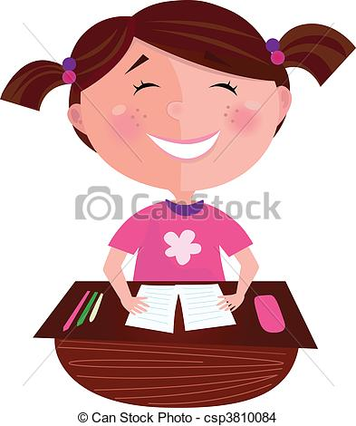 Eps Vector Of Happy Smiling Girl In School   Small Girl Posing In