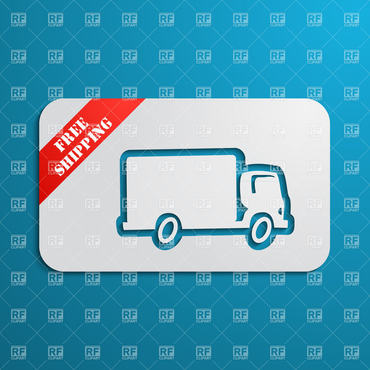 Free Shipping   Silhouette Of Delivery Truck On Label With Red Corner