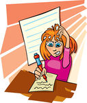 Hard Working Girl Clipart Girl And Difficult Test