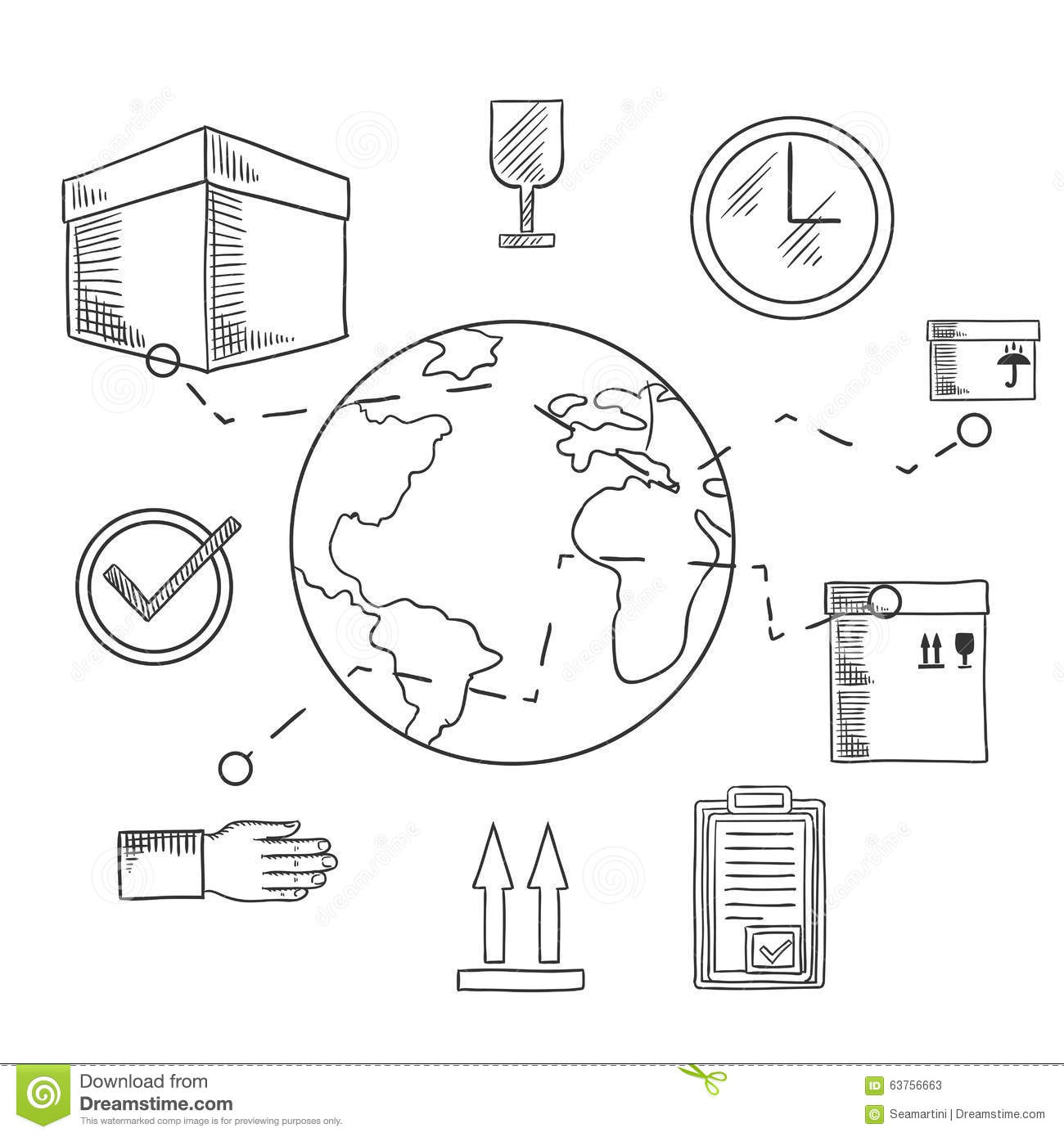 International Shipping And Delivery Service Icons Of Cardboard Boxes