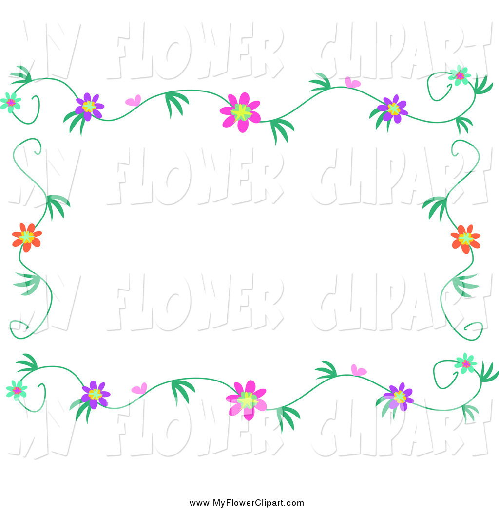 Larger Preview  Clip Art Of A Flower Vine Border Frame By Bpearth