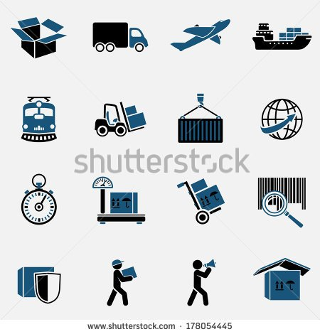 Logistic Transportation Service Icons Set Of Shipping Delivery And
