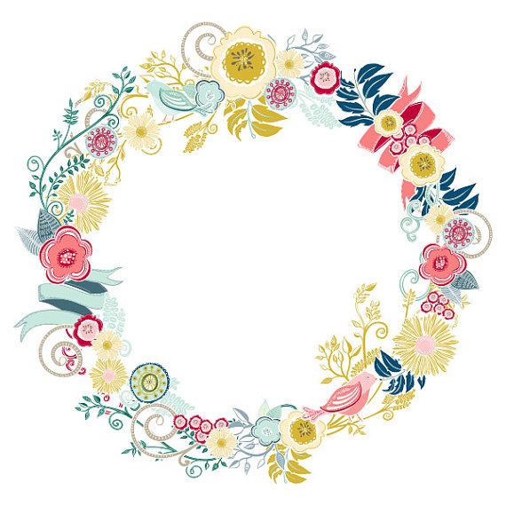 Lovely Floral Wreath Image Flourish Graphics   Modern Flower Clip Art