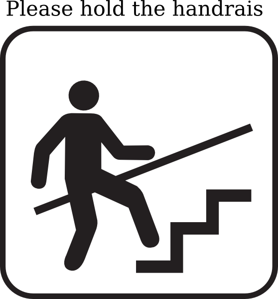 Please Hold On To The Handrail When Go Upstairs And Downstairs  Clip