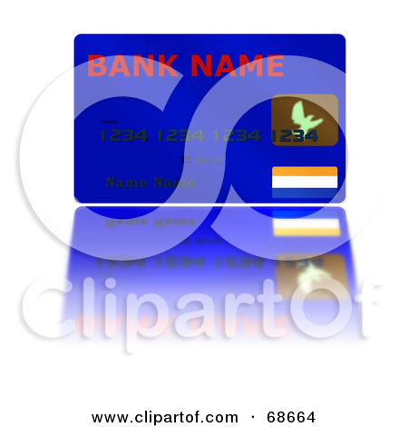 Royalty Free  Rf  Clipart Illustration Of A Blue Credit Card With A