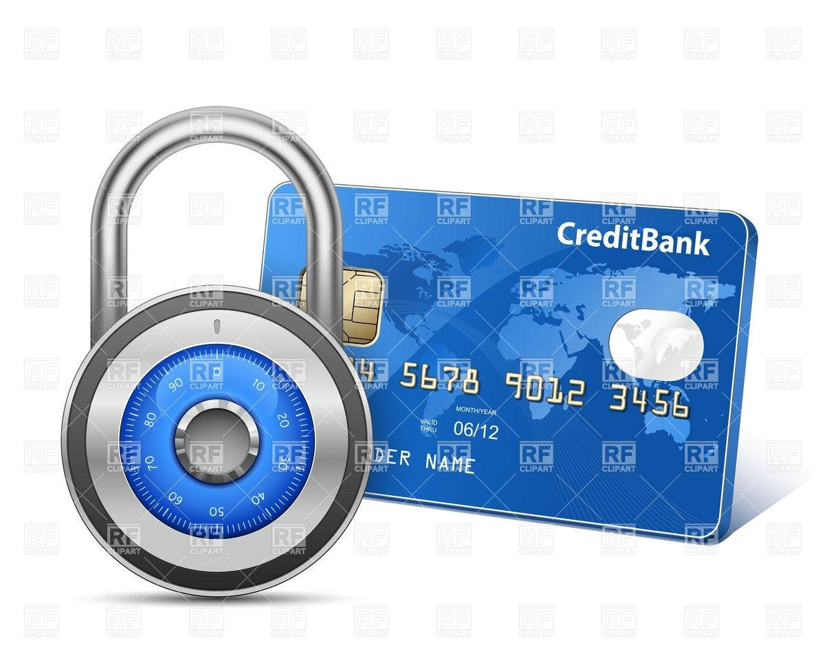 Secure Payment   Credit Card And Combination Padlock Download Royalty